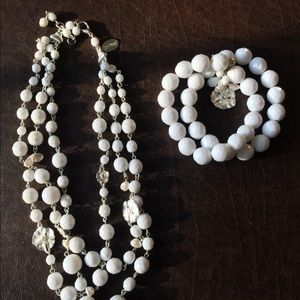 White House Black Market Jewelry - White House Black Market White Necklace & Bracelet